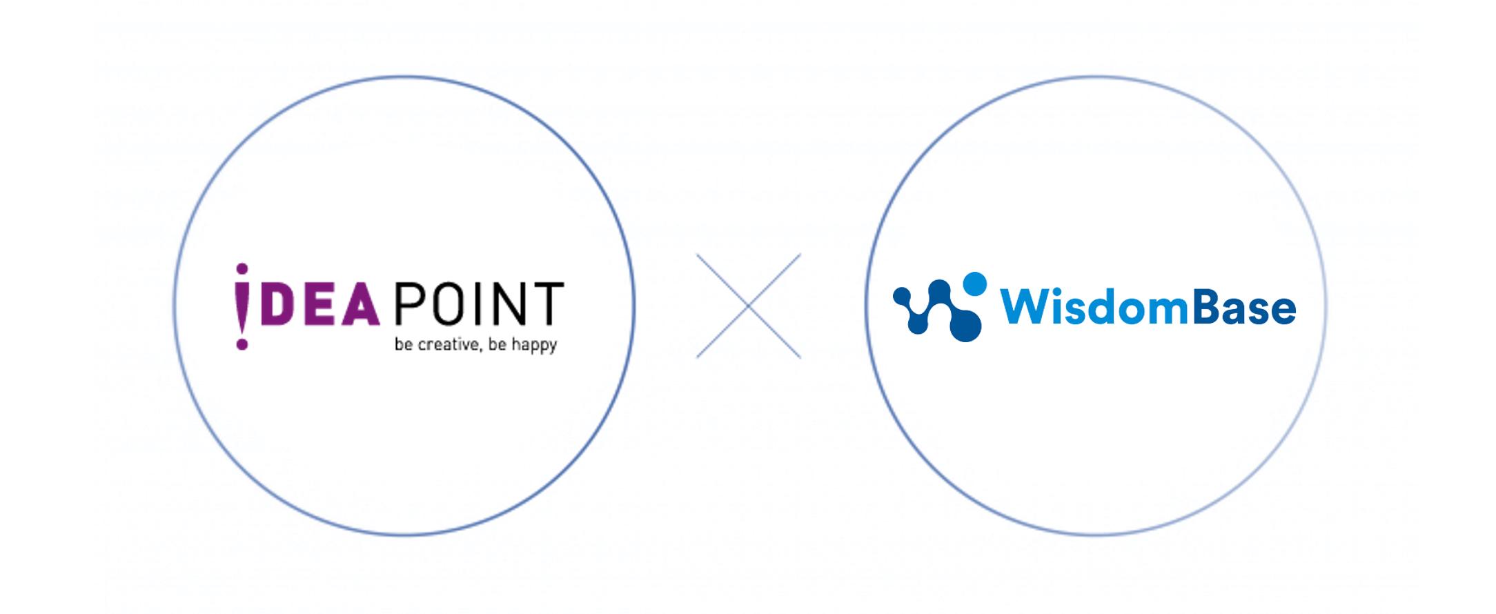 株式会社アイディアポイントのロゴとWisdomBaseのロゴを左右に並べた画像